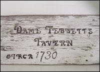 Dame Tebbetts Tavern sign circa 1730